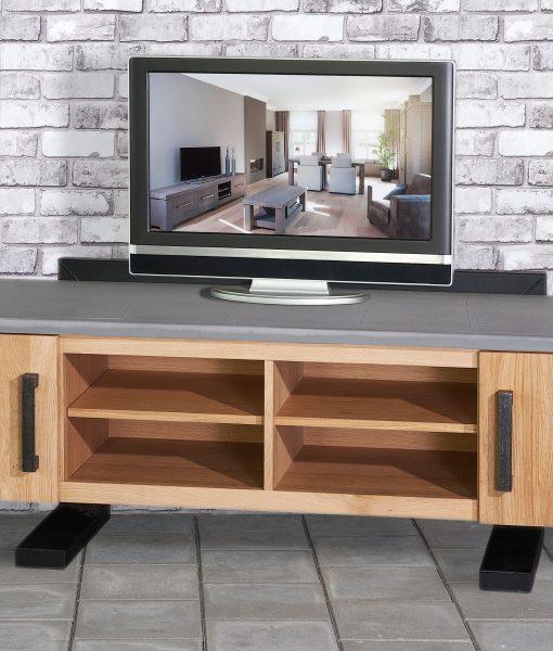 Sturdy TV kast groot met stereorack en betonblad