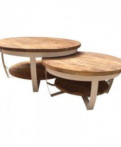 Salontafels Paras wit met plateau hout