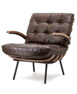 bruine fauteuil leder