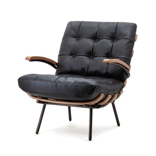 fauteuil zwart leer eleonora